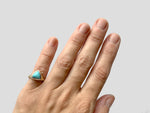Turquoise brass and silver ring, 3.75