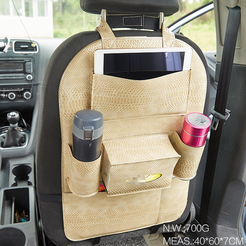 Load Image Into Gallery Viewer 2pcs Multi Leather Car Seat Back Organizer
