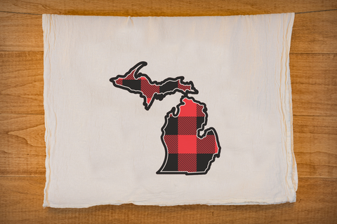 Buffalo Plaid Michigan Tea Towel