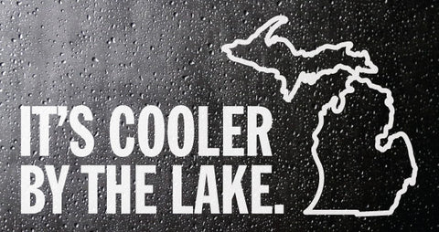 Cooler By the Lake White Vinyl Sticker