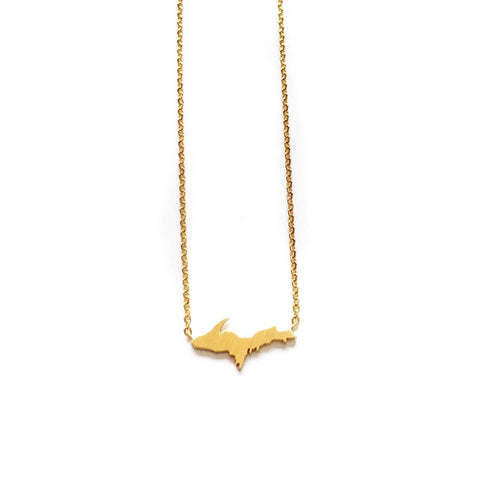 Gold Upper Peninsula Necklace