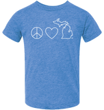 Peace Love Michigan Kids T-Shirt