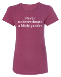 Never Underestimate a Michigander Women's Scoopneck T