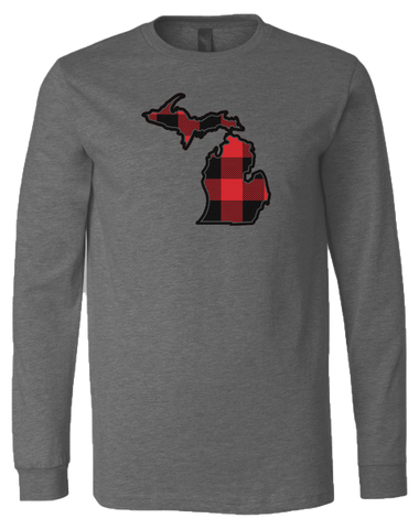 Buffalo Plaid Michigan Long Sleeve T-Shirt (CLOSEOUT)