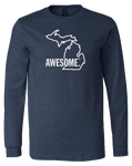 Michigan Awesome State Outline Long Sleeve T-Shirt