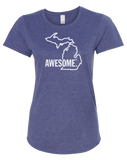 Michigan Awesome State Outline Women's Scoopneck T