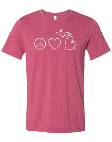 Peace Love Michigan Unisex T-Shirt (CLOSEOUT)