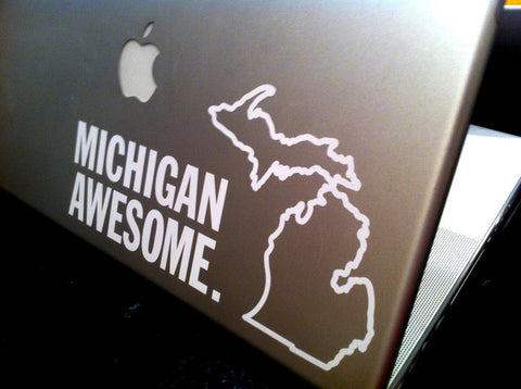 Michigan Awesome White Vinyl Sticker
