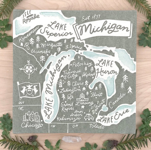 Michigan Map Canvas Print