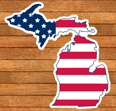 Patriotic Michigan Die-Cut Sticker
