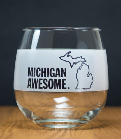 Michigan Awesome Stemless Red Wine Glass
