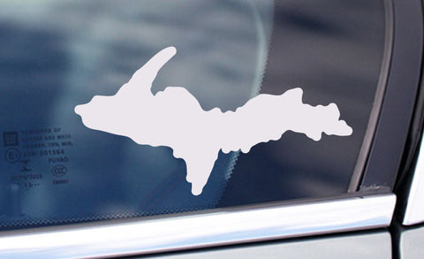 Upper Peninsula White Vinyl Sticker