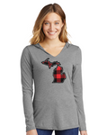 Women's Buffalo Plaid Lightweight Hooded Long Sleeve