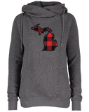 Women's Buffalo Plaid Funnel Neck Hoodie