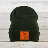 Leather Patch Cuff Beanie