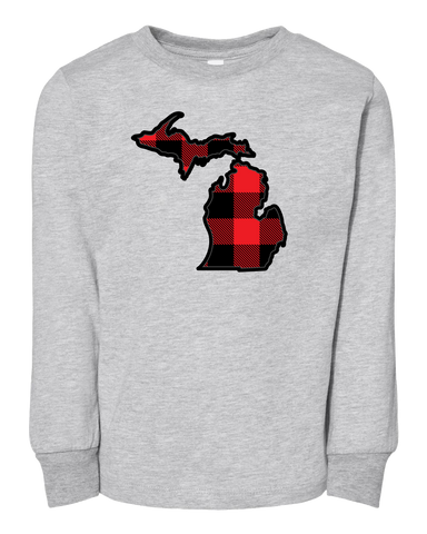 Buffalo Plaid Michigan Kids Long Sleeve T-Shirt