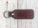 Michigan Awesome Leather Key Chain