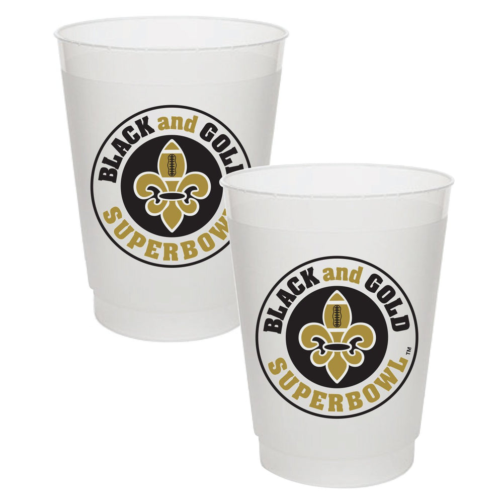 Black & Gold Superbowl Frost Flex Cups (25/pk)