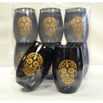 Black & Gold Sugar Skull Cups (6/pk) - Party Cup Express