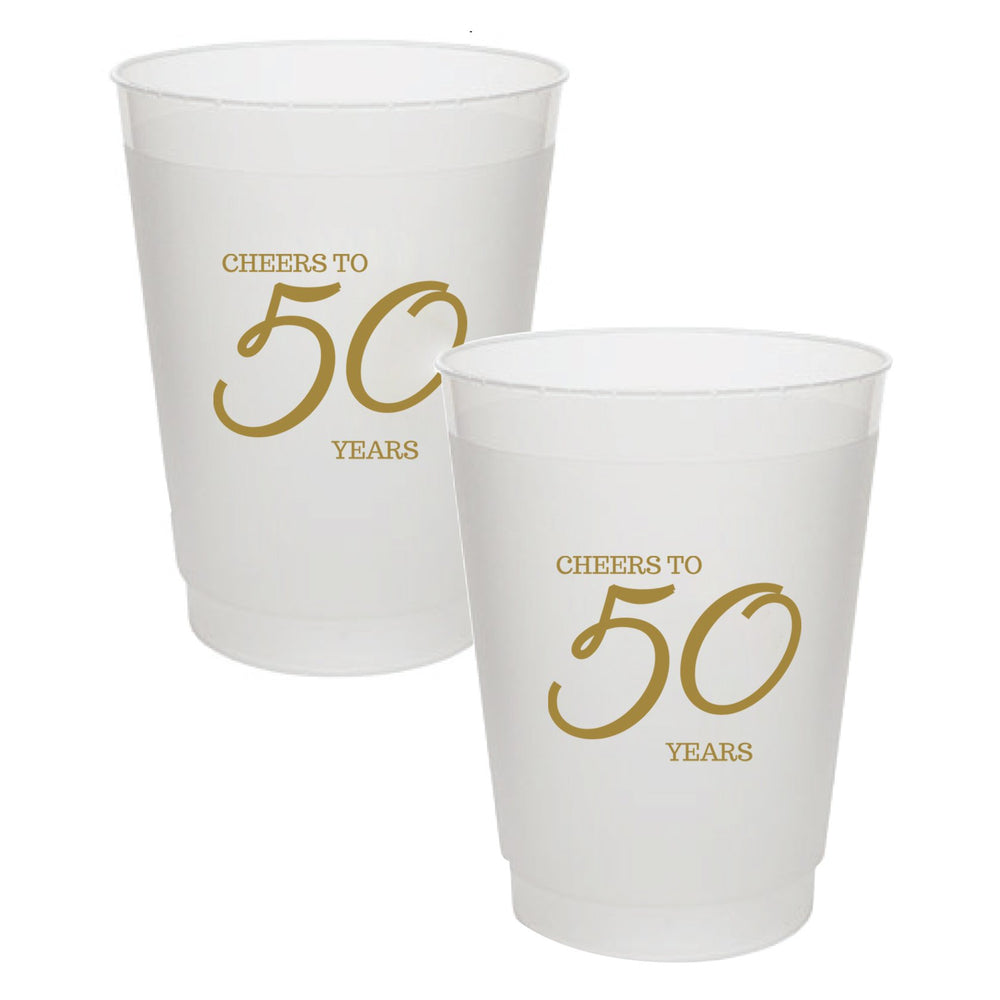 """Cheers to 50 Years"" Frost Flex Cups (25/pk)"