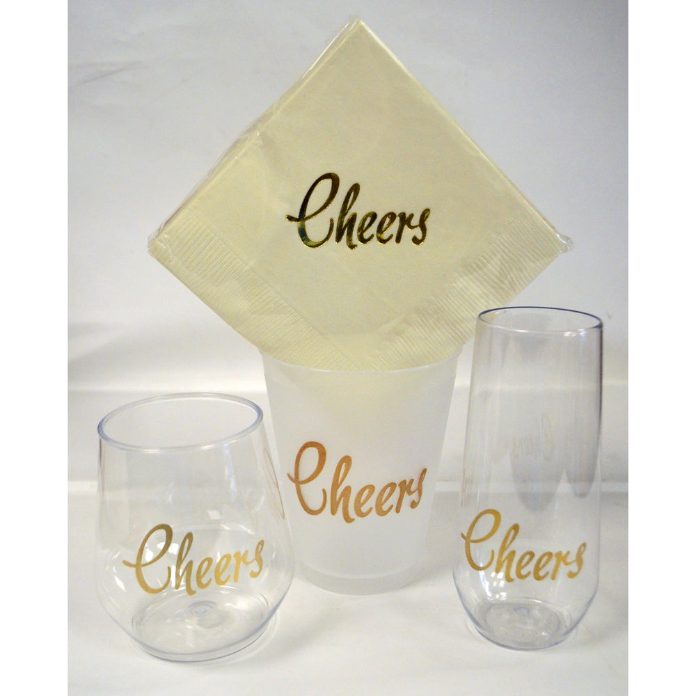 Cheers! Stemless Champagne Flutes (pk/6) - Metallic Gold - Party Cup Express