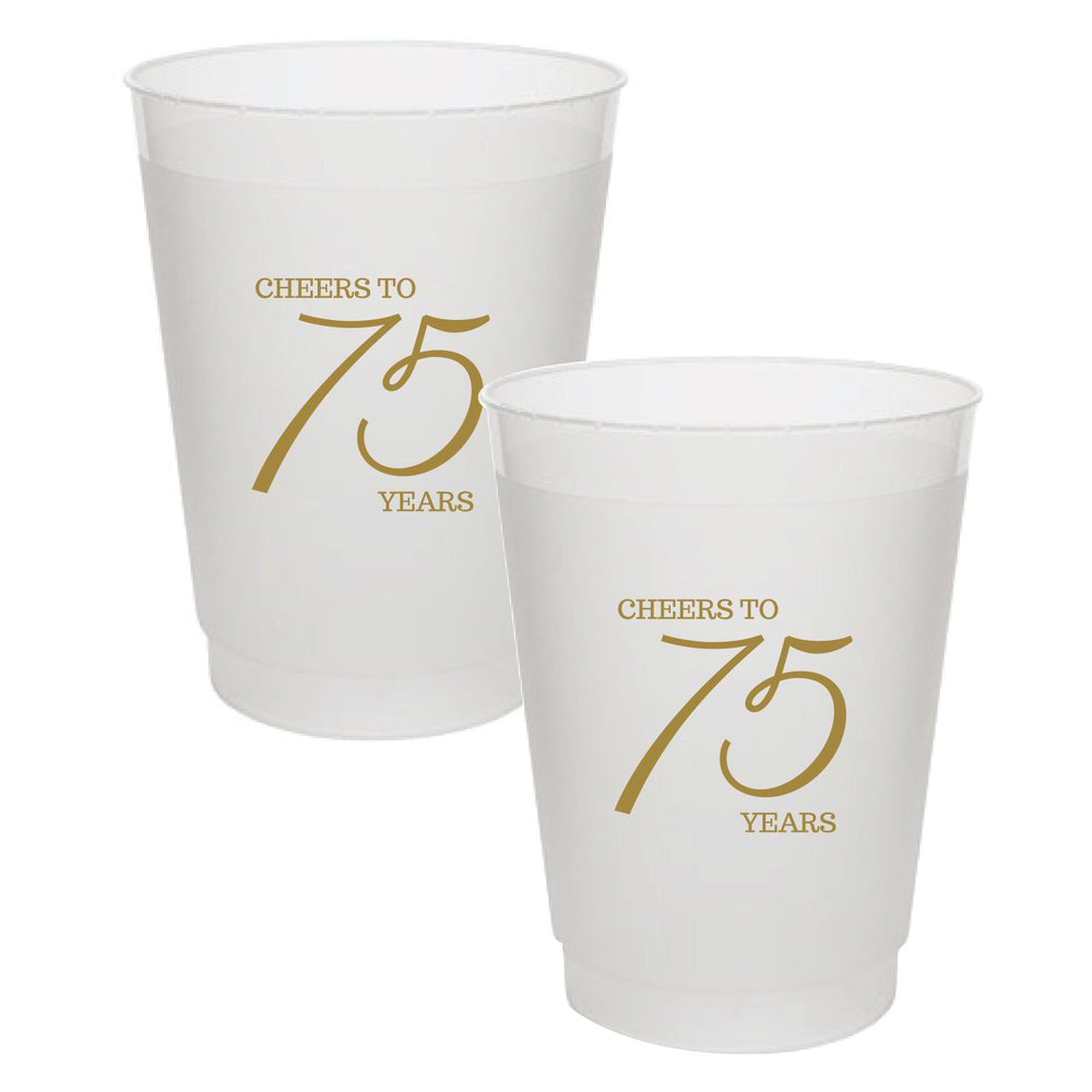 """Cheers to 75 Years"" Frost Flex Cups (25/pk)"