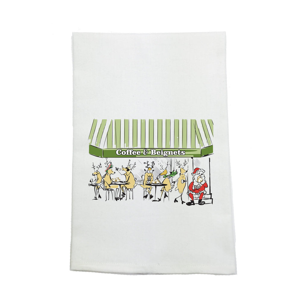 """Coffee and Beignets"" Kitchen Towel - Party Cup Express"