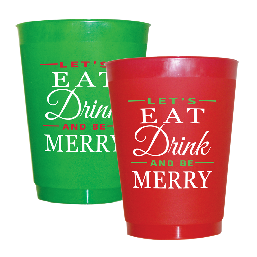 "Christmas ""Let's Eat Drink & Be Merry"" 16oz Frost Flex Cups (25/pk)"