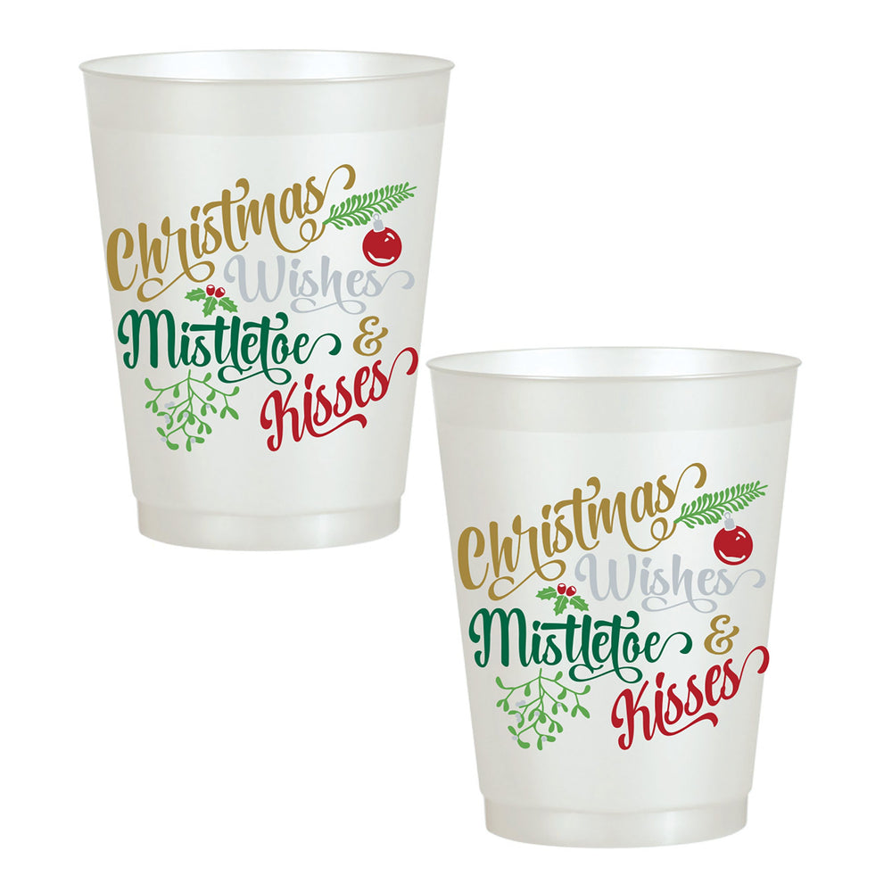 """Christmas Wishes, Mistletoe & Kisses"" Frost Flex Cups (25/pk)"