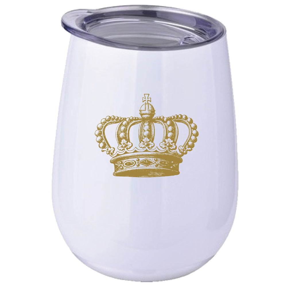 Gold Antique Crown' 10oz Stainless Stemless Wine Tumbler