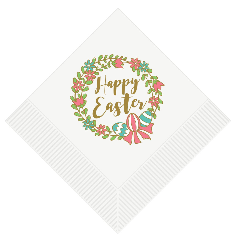 Easter Wreath Beverage Napkins [pk/25] - Party Cup Express