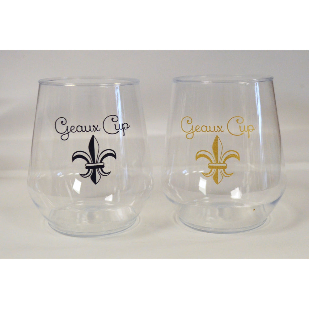 Black & Gold Fleur de Lis Geaux Cup Stemless Wine Glasses - Party Cup Express