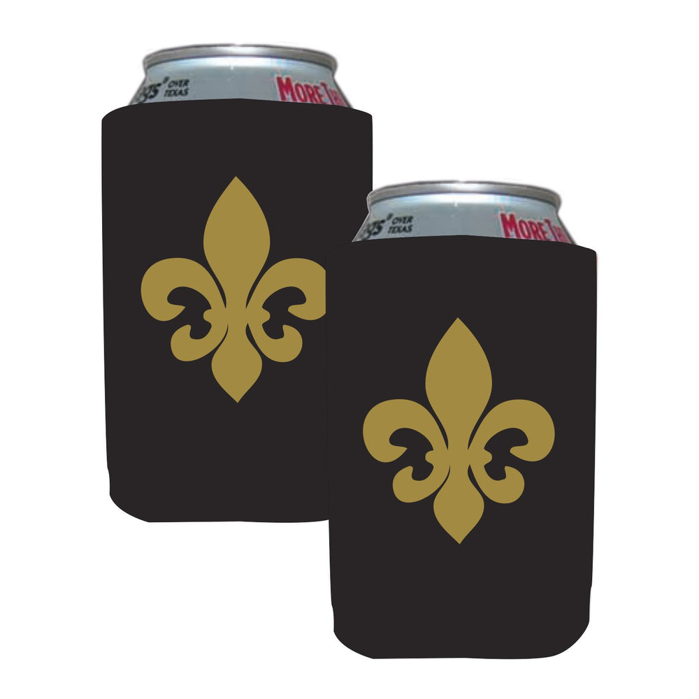 Black & Gold Fleur de Lis Can Coolers (4/pk)
