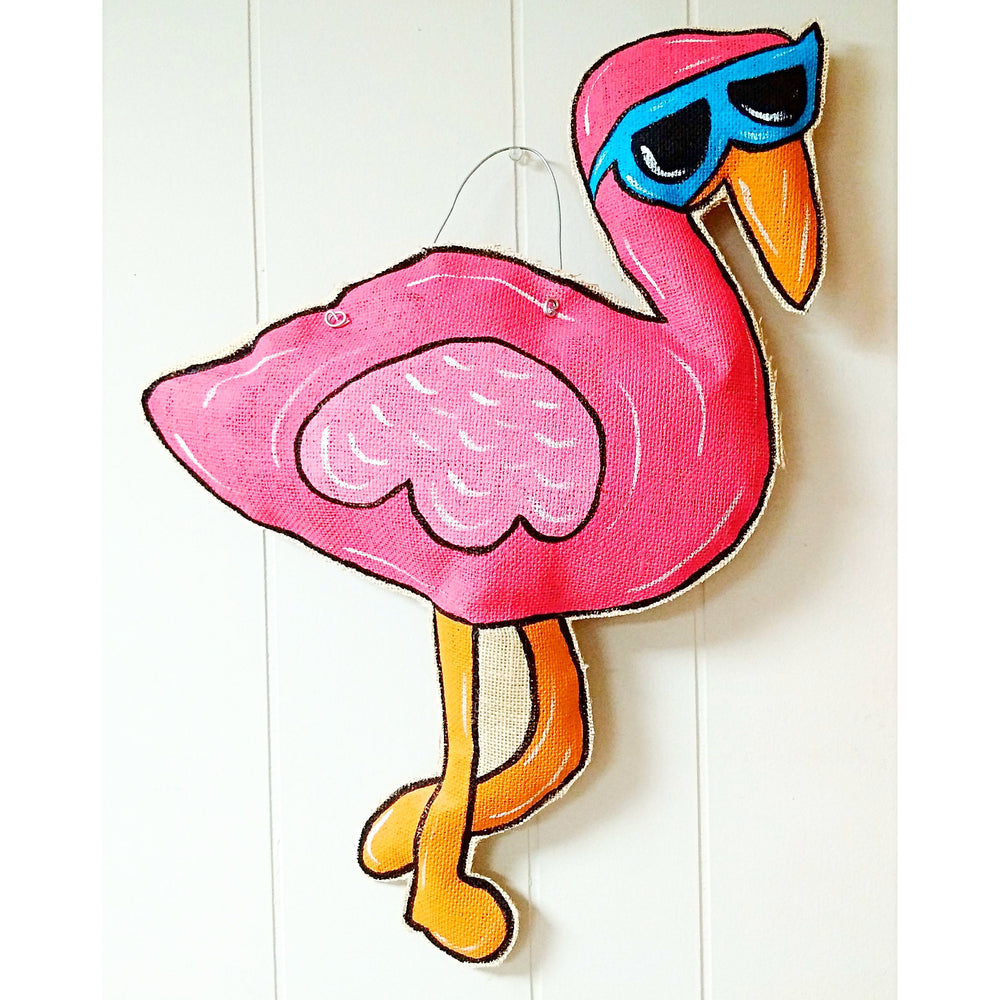 Flamingo Burlap Door Hanger - Party Cup Express