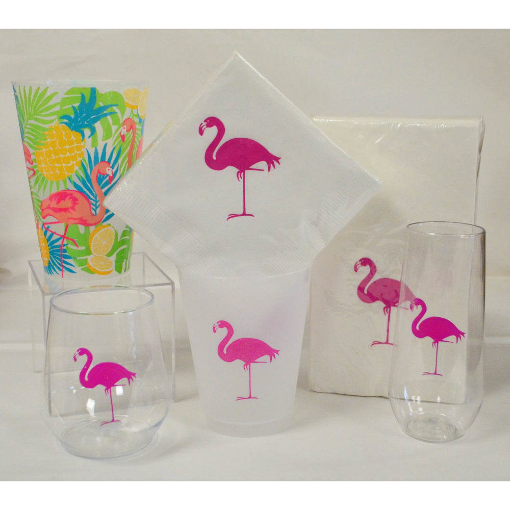 Pink Flamingo Stemless Champagne Flutes - Party Cup Express