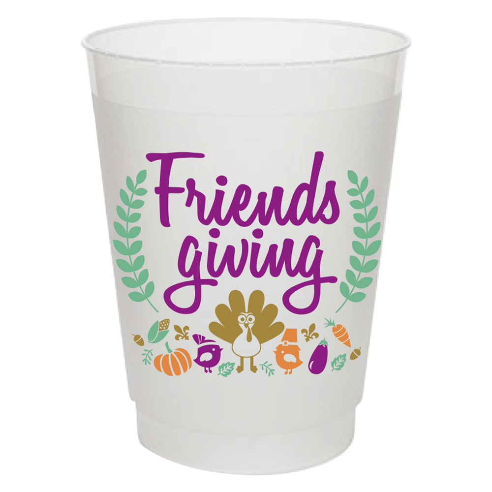 """Friendsgiving"" 16oz Frost Flex Cups (25/pk)"