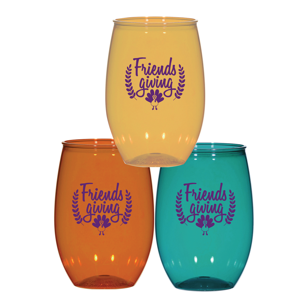 """Friendsgiving"" 16oz Stemless Cups (6/pk)"