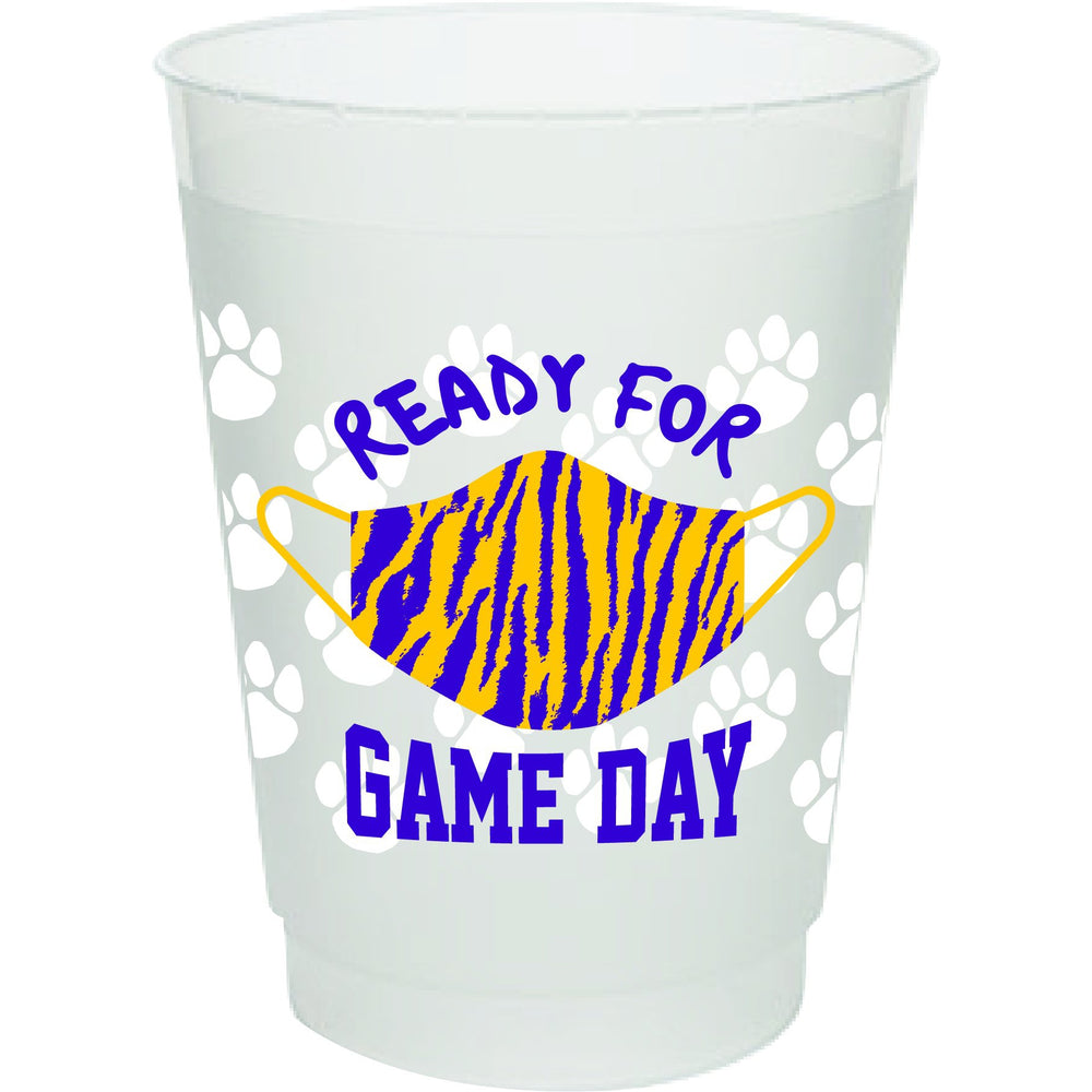 Ready For Game Day/Tiger Stripe Mask 16oz frost flex cups (pk of 25)