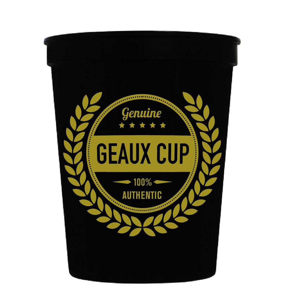 Genuine Geaux Cup (black & gold) pk of 25
