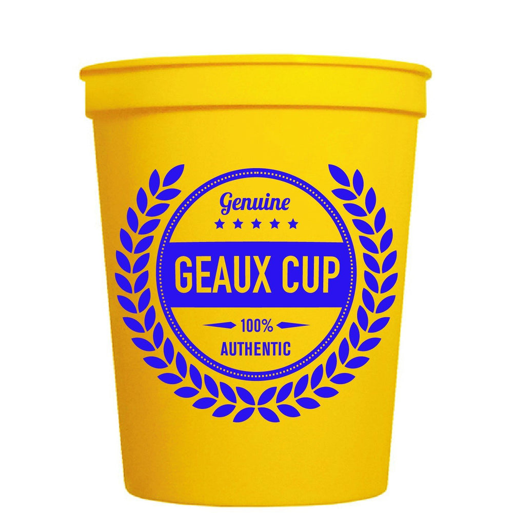 Genuine Geaux Cup (Purple & Gold) pk of 25 cups