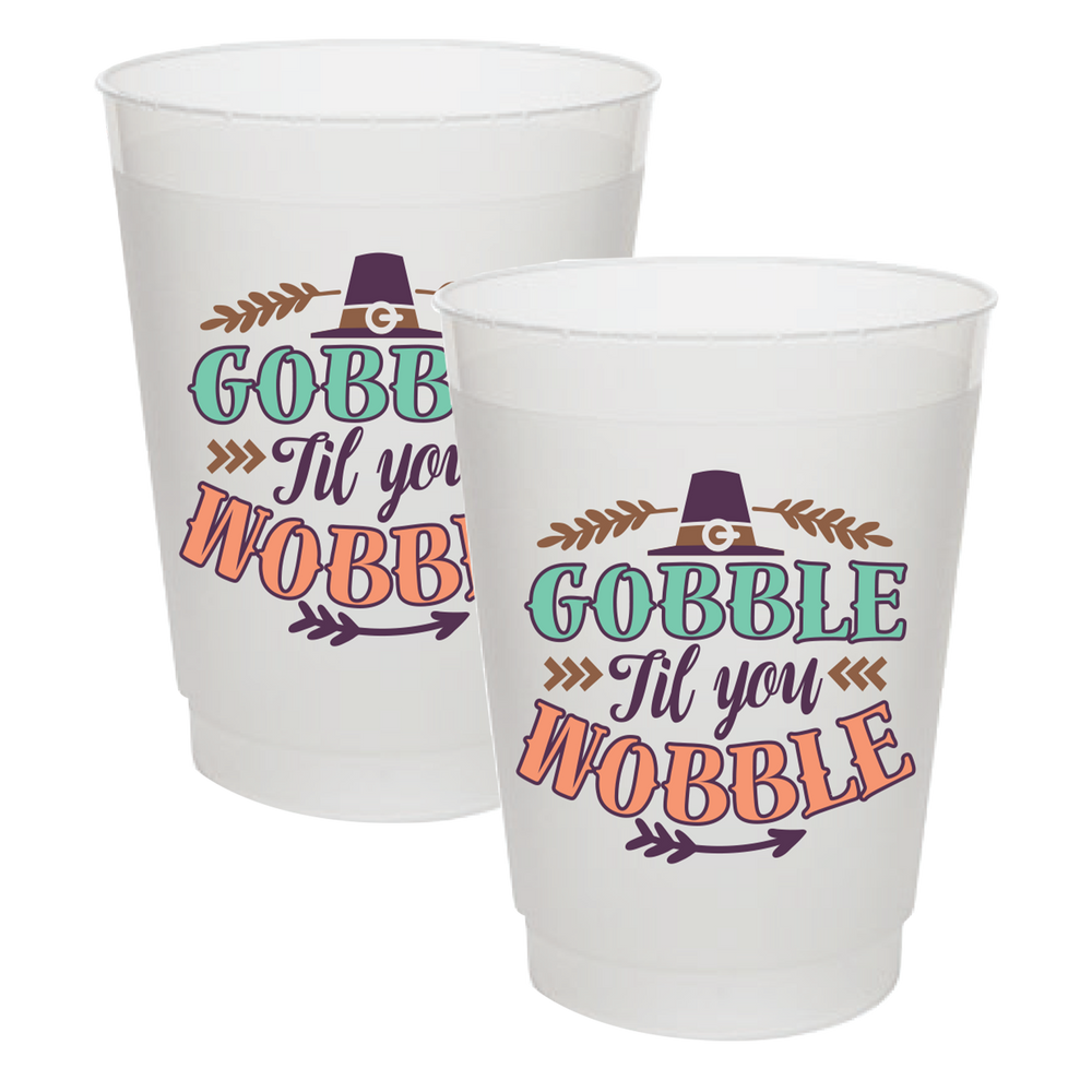 """Gobble Wobble"" 16oz Frost Flex Cups (25/pk)"