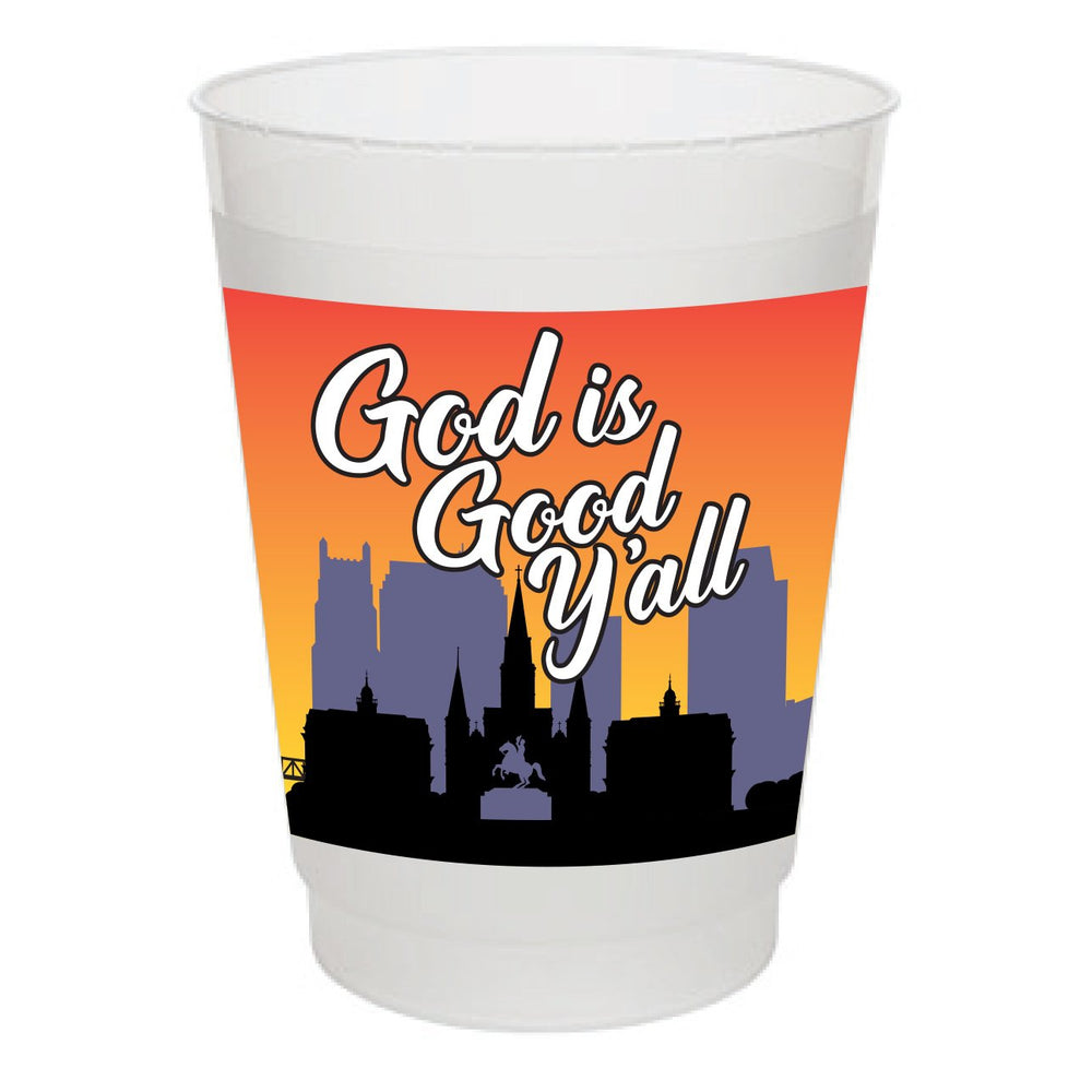 """God is Good Y'all"" 16oz Frost Flex Cups (25/pk)"