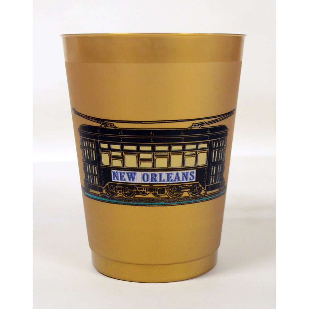 Metallic Gold Frost Flex w/ 'New Orleans' Street Tile Streetcar Design - Party Cup Express