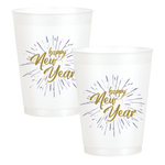 """Happy New Year"" Fireworks 16oz Pearl White Frost Flex Cup (25/pk)"