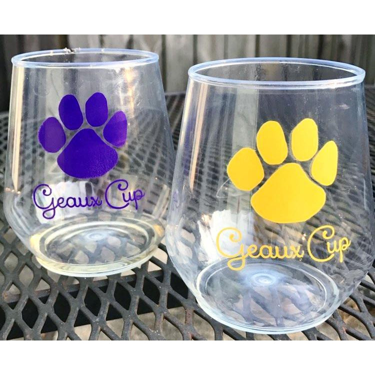 LSU Geaux Cup Stemless Wine Glasses