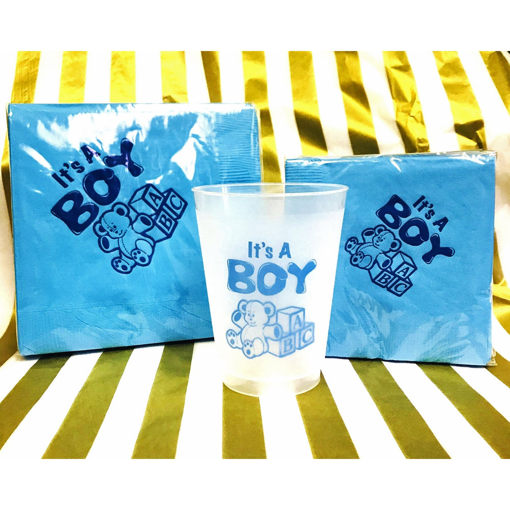 """It's A Boy!"" Frost Flex Cups - Party Cup Express"