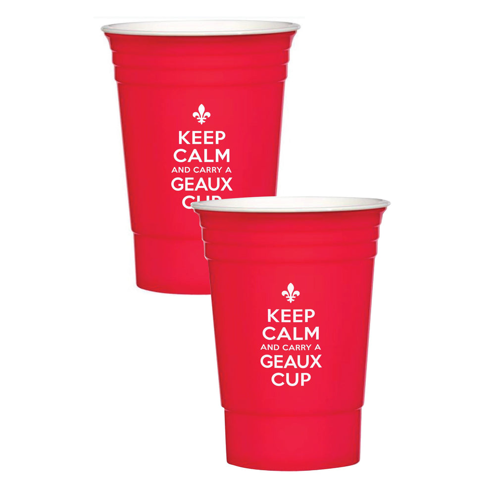 """Keep Calm & Carry a Geaux Cup"" 16oz Insulated Party Cup (6/pk)"