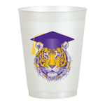 Tiger Graduation Cup 16oz Pearl White Frost Flex Cups (25/pk)