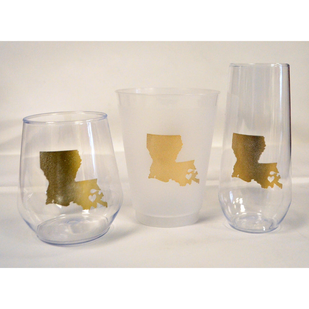 Louisiana ♥ NOLA Stemless Wine Glasses - Party Cup Express