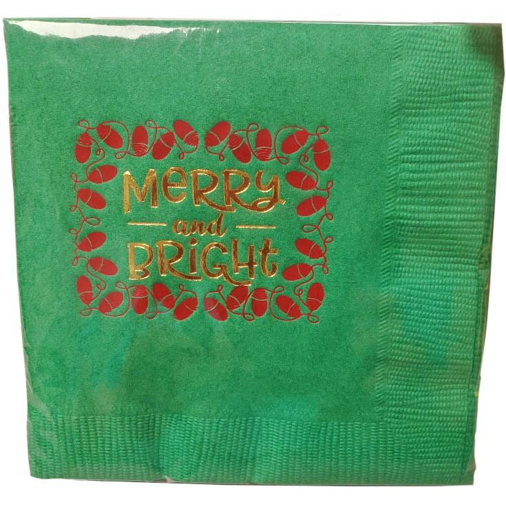 Merry & Bright Beverage Napkins (25/pk)